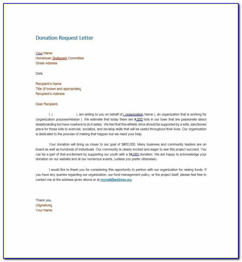 Request For Donations Letter Template Free