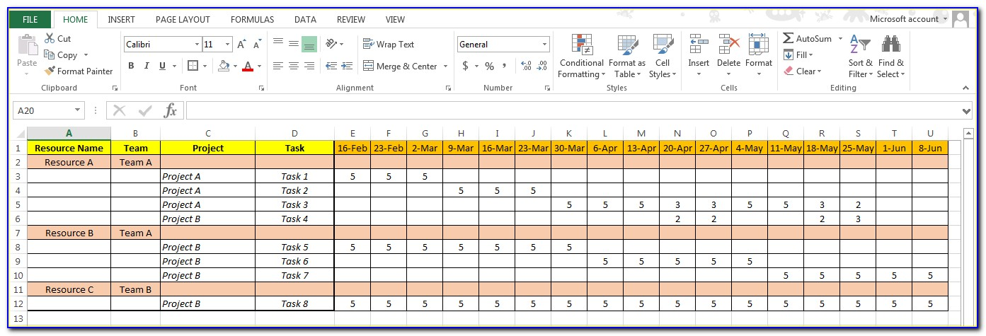 Resource Allocation Excel Template Free