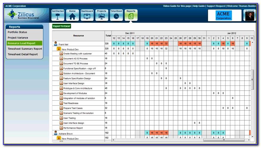 Resource Allocation Matrix Excel Template
