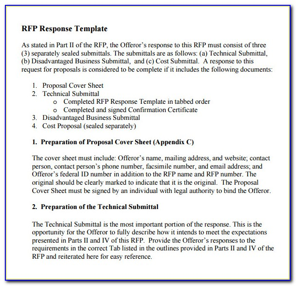 Response To Rfp Template