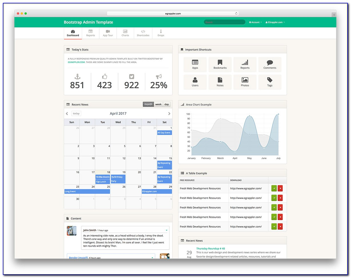 Responsive Bootstrap Dashboard Template Free Download