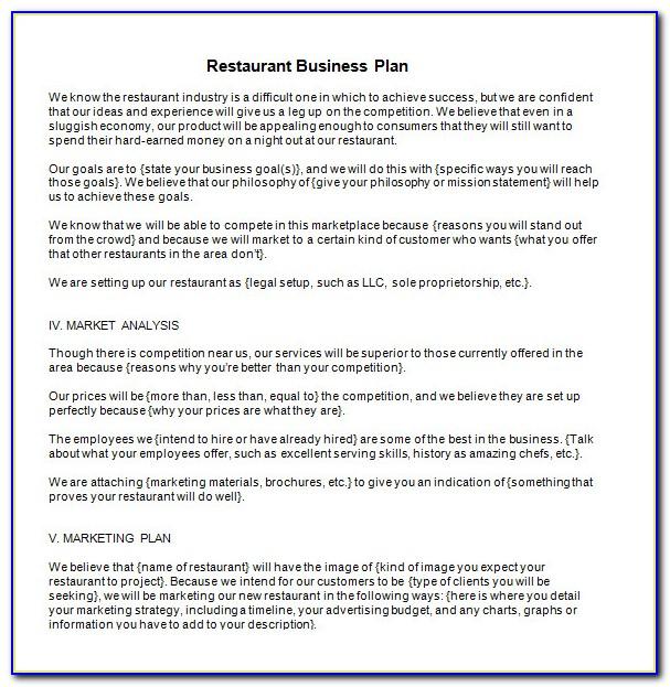 Restaurant Business Plan Sample Word