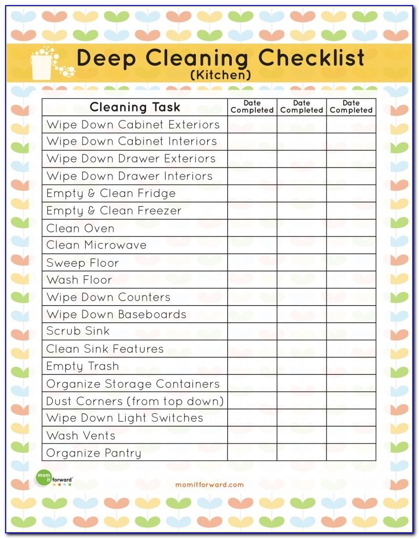 Restaurant Cleaning Checklist Pdf