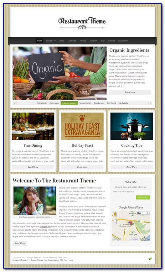 Restaurant Menu Wordpress Templates