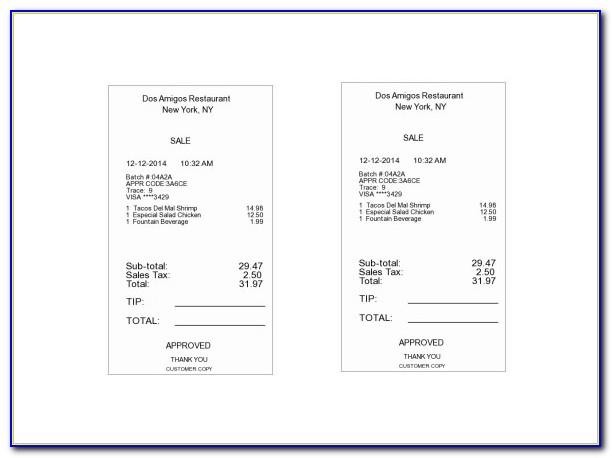 Restaurant Receipt Template Word Free Download