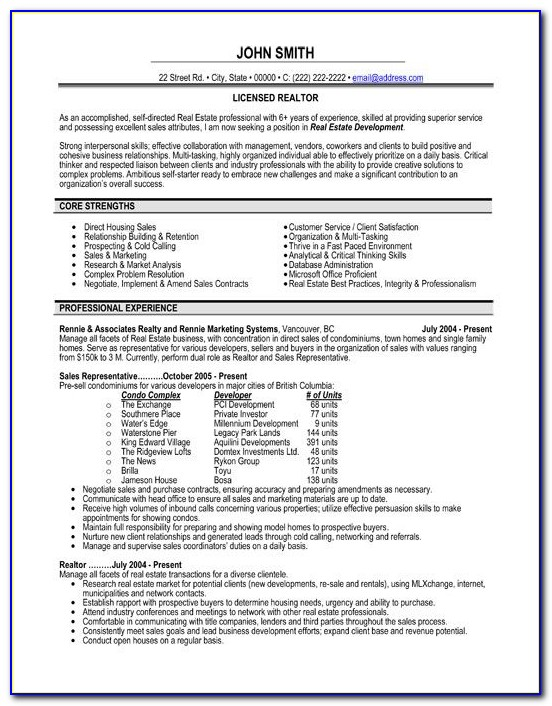 Resume Templates For Real Estate