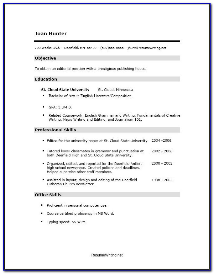 Free Resume Templates For Students With No Experience Inspiration For Resume Examples For College Students With No Work Experience