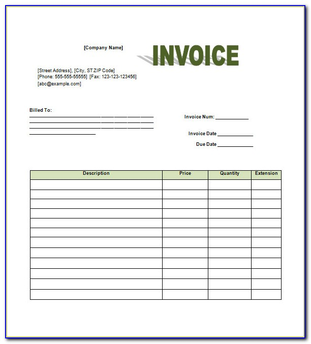 Retail Invoice Template Excel