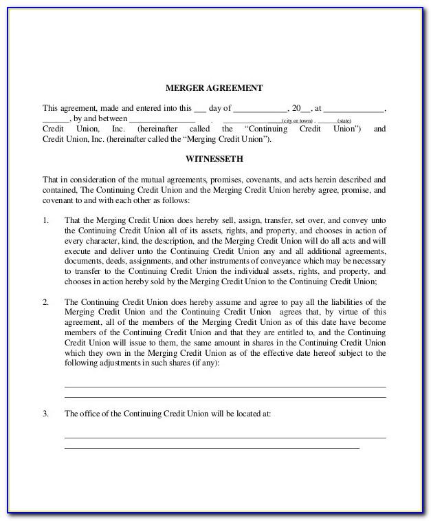 Reverse Merger Agreement Template