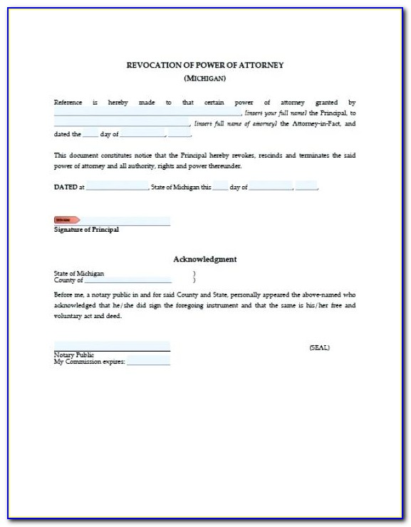 Revocation Of Power Of Attorney Document