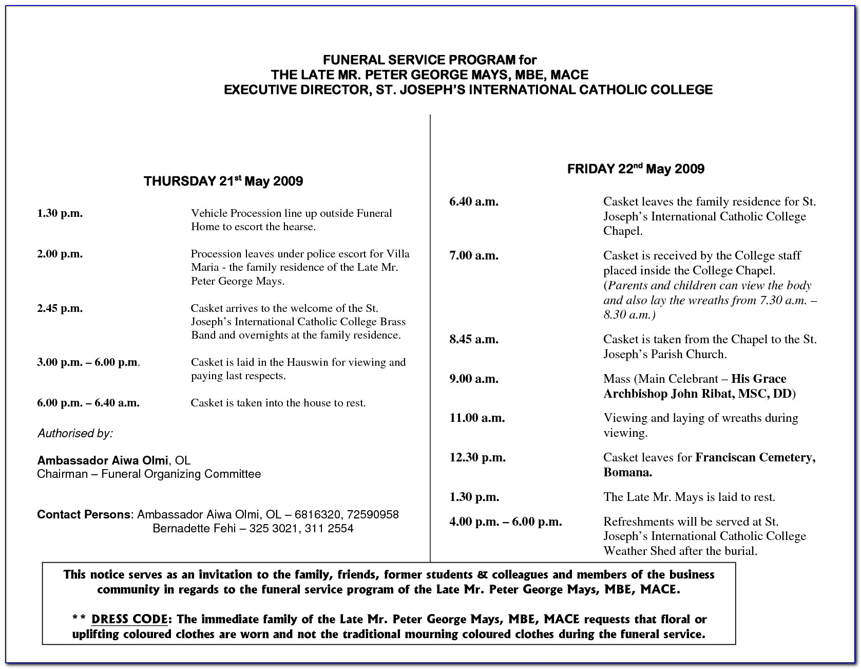 Roman Catholic Funeral Mass Program Template
