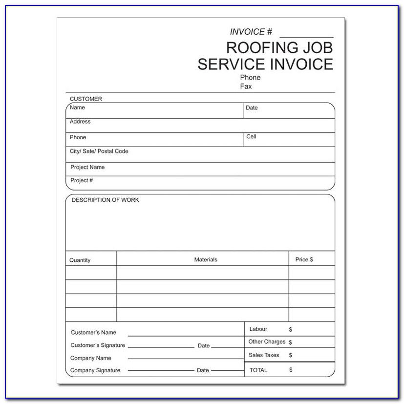 Roofing Receipt Template Pdf