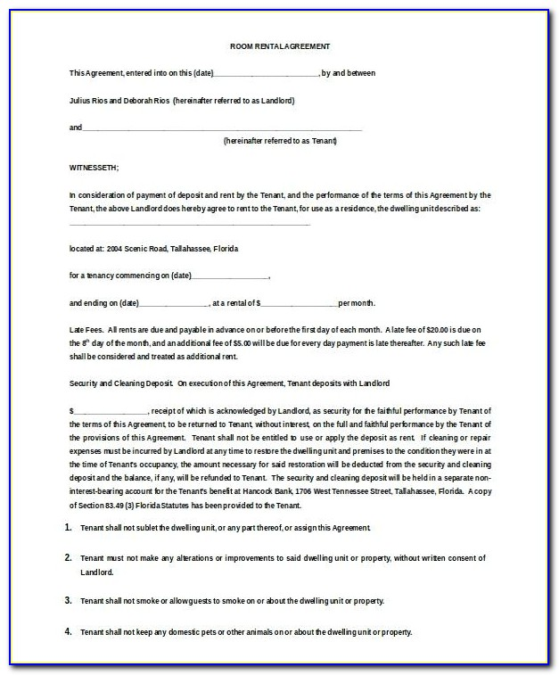 Room Rental Agreement Template Ireland