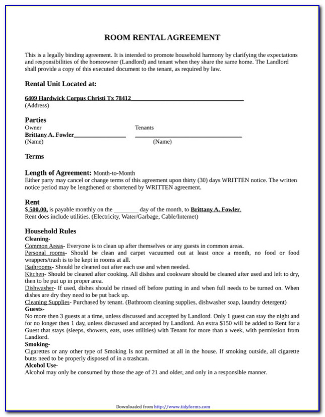 Room Rental Agreement Template Word Doc