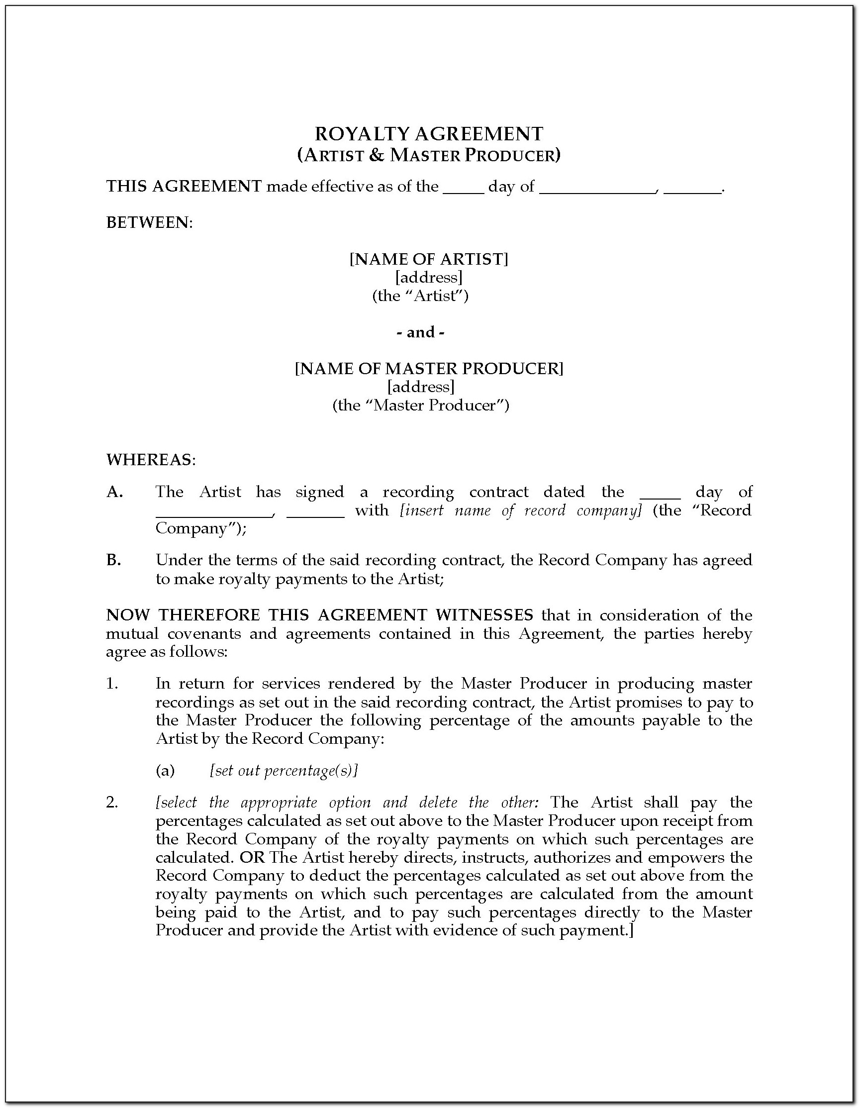 Royalty Agreement Template Australia