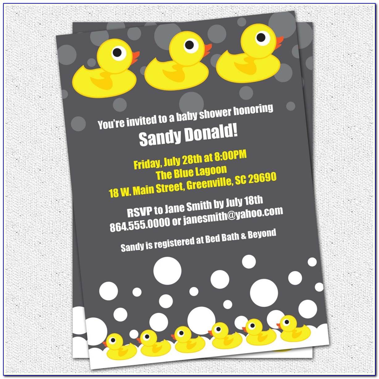 Rubber Duck Baby Shower Invitations Template New Baby Shower Invitation Printable Rubber Duck Ducky Duckie
