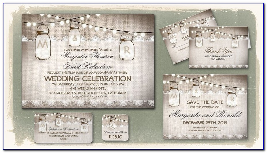 Rustic Mason Jar Wedding Invitation Templates