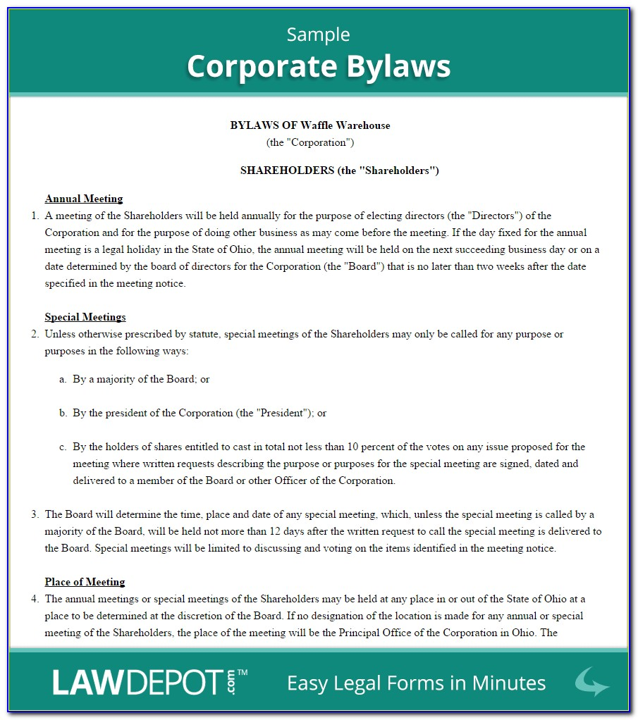 S Corporation Bylaws Template Free
