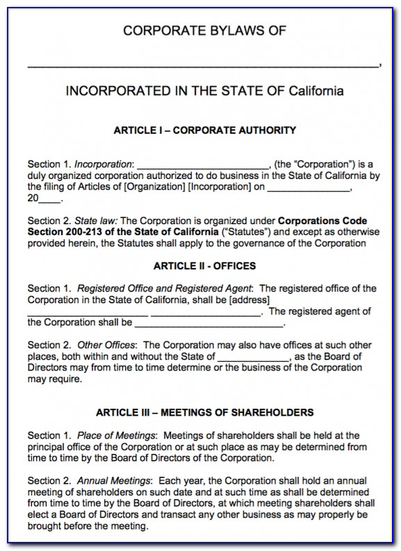 S Corporation Bylaws Template