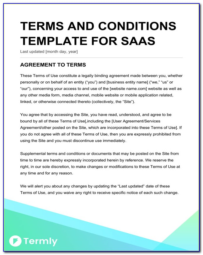 Saas Terms And Conditions Template