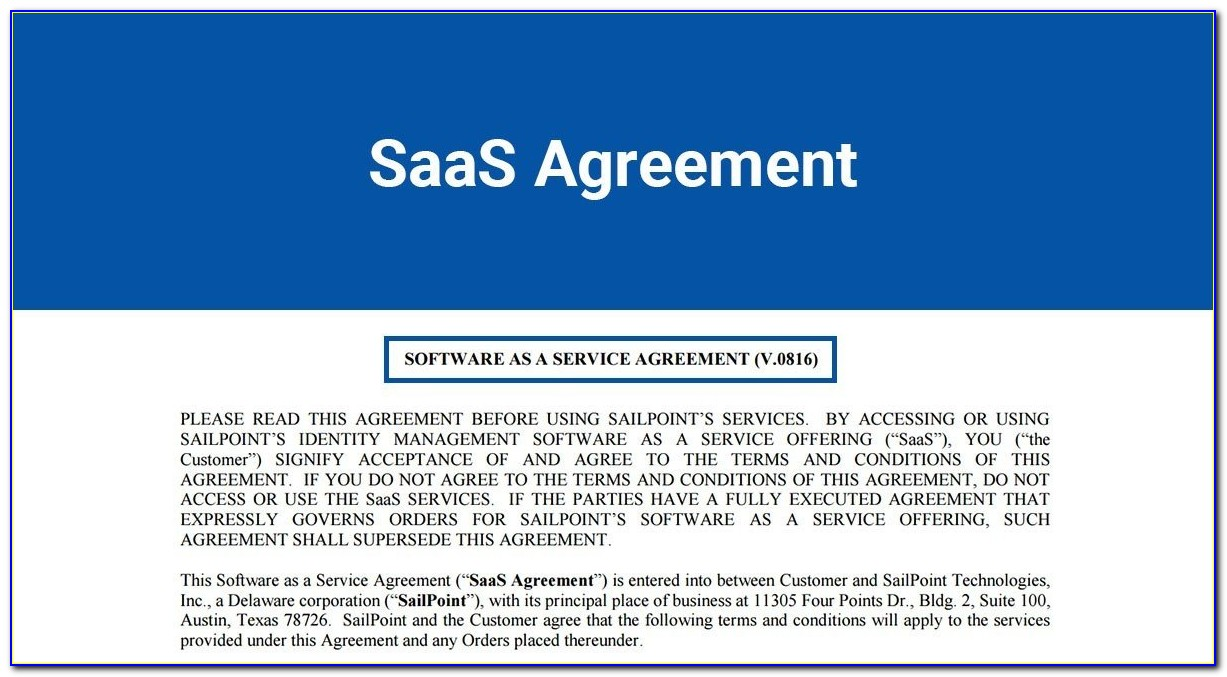 Saas Terms Of Service