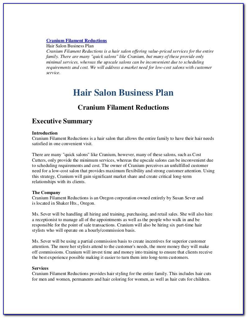 Salon Business Plan Sample Uk