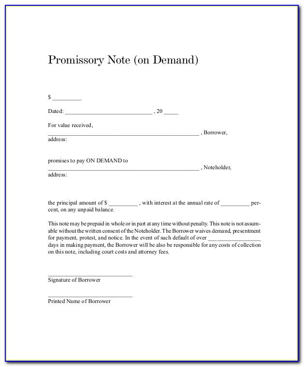 Sample Demand Note Template