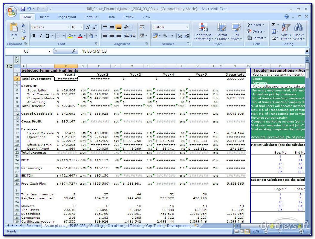Sample Financial Modelling