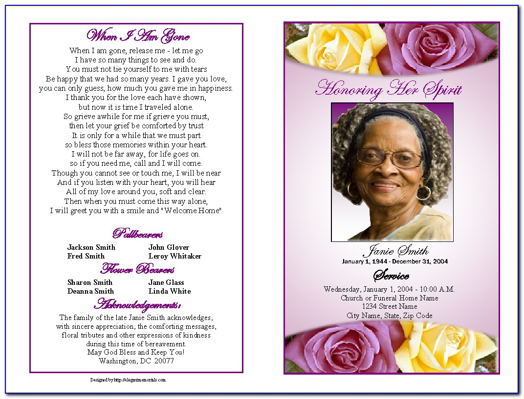 Sample Funeral Program Template Free