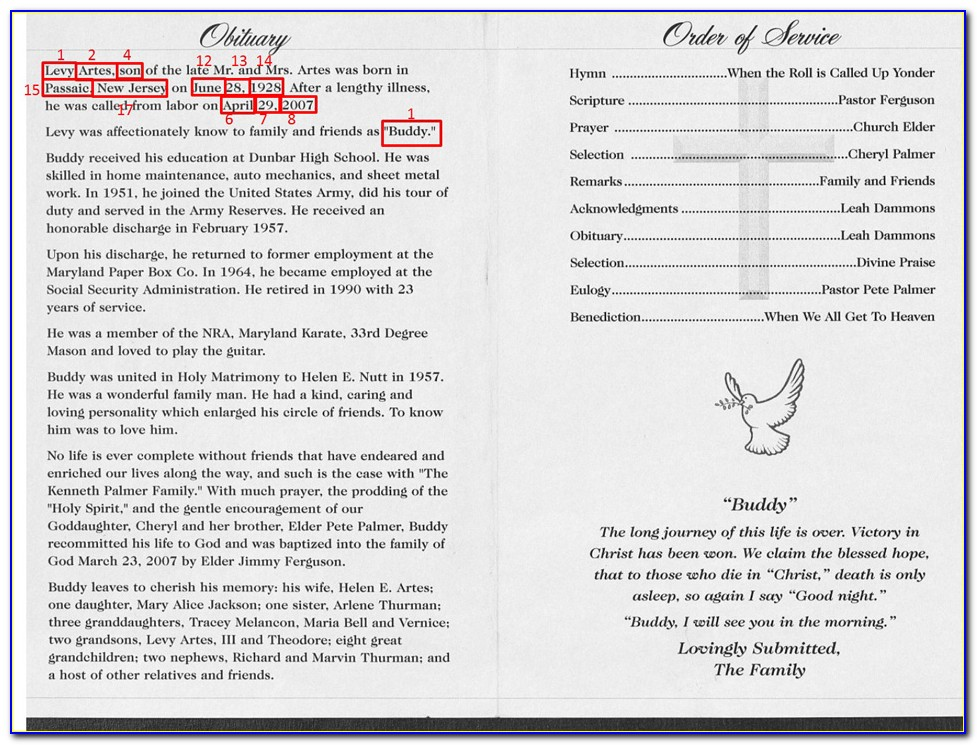 Sample Funeral Program Template