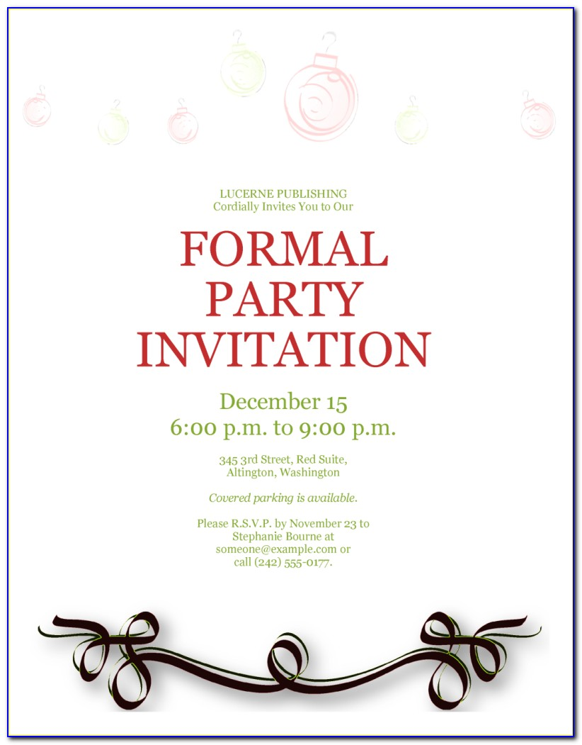 Sample Invitation Card Template Free