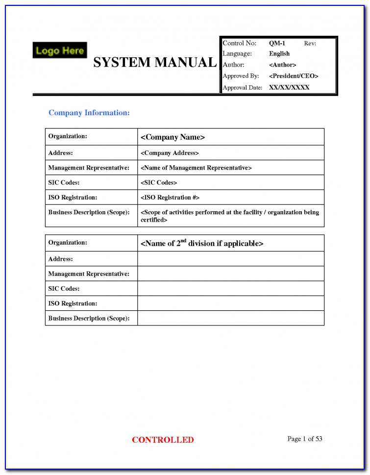 Sample Iso 9001 Quality Manual Free Download