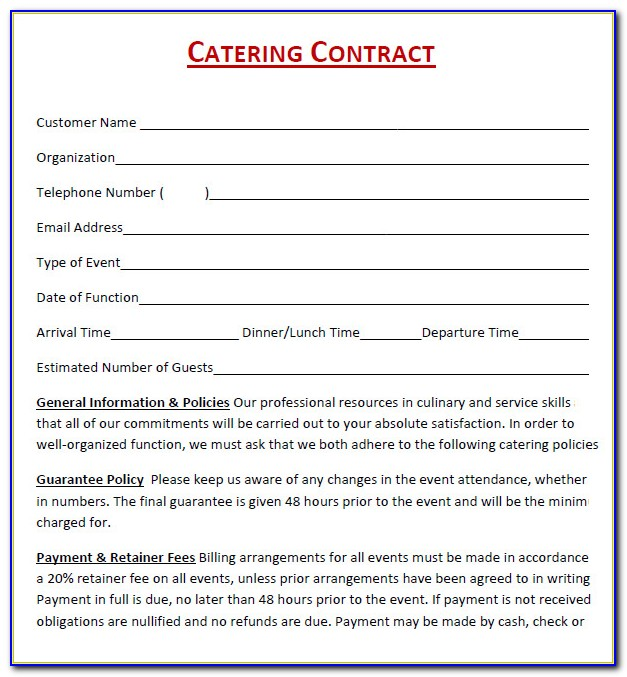 Sample Of Catering Contract Form