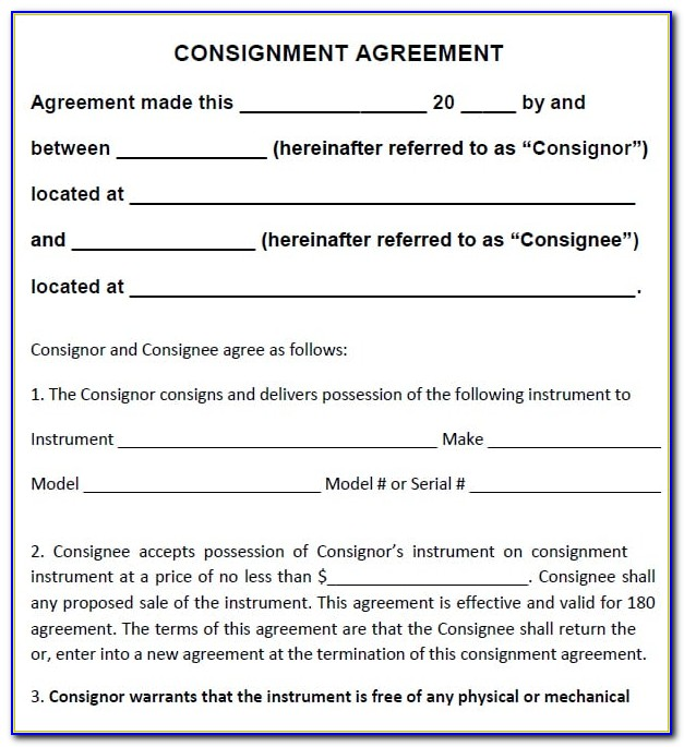 Sample Of Consignment Sales Agreement Template