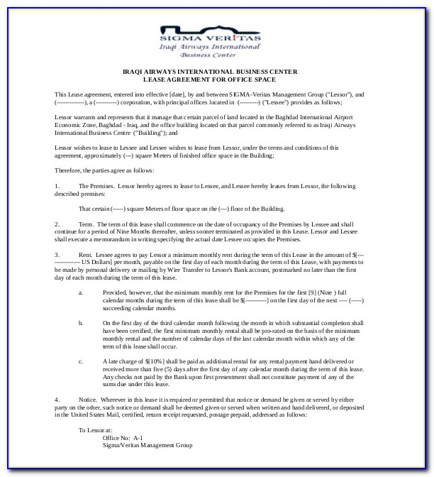Sample Of Land Lease Agreement