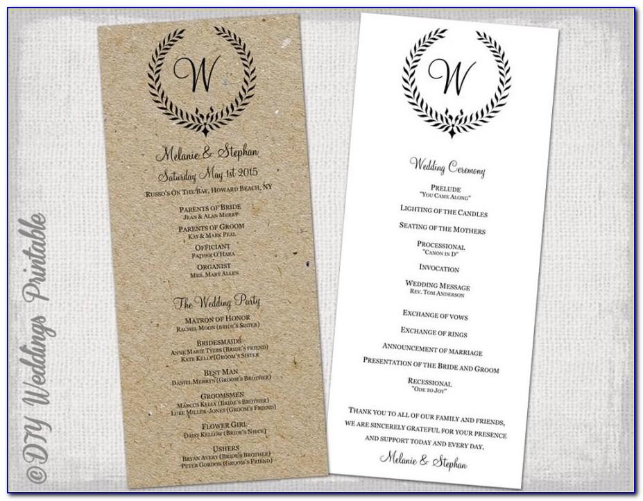 Sample Of Wedding Ceremony Program