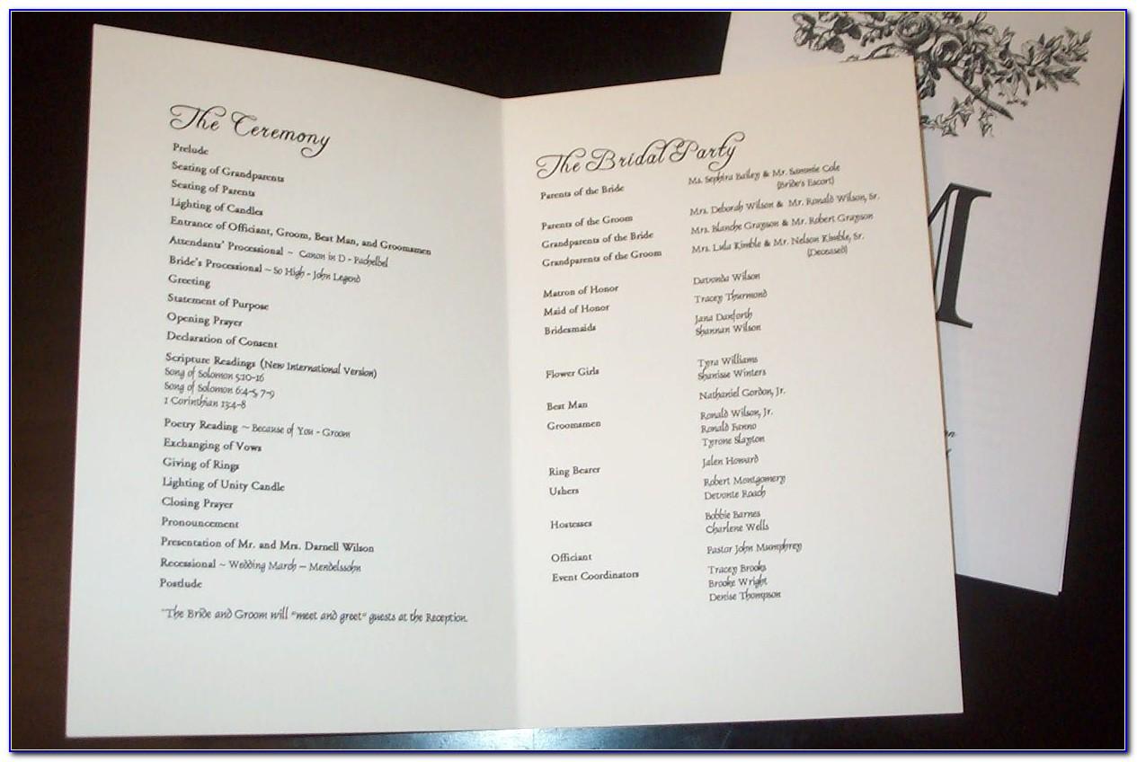 Sample Of Wedding Programs