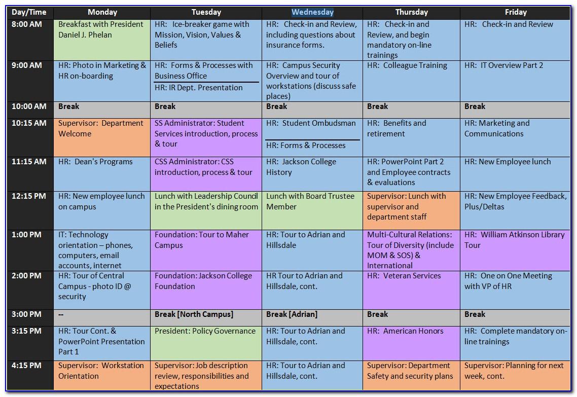 Sample Onboarding Schedule