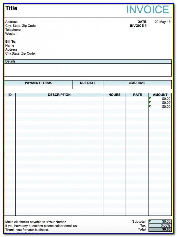 Sample Painting Invoice Template