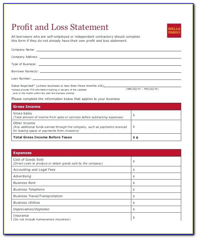 Sample Profit And Loss Statement For Self Employed Homeowners