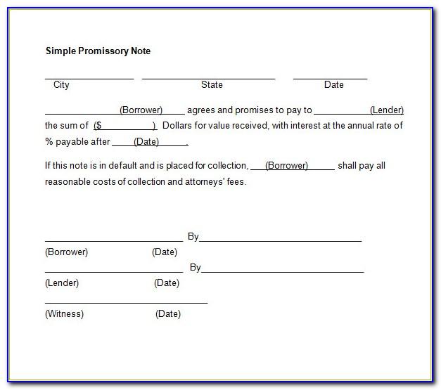 Sample Promissory Note Template California