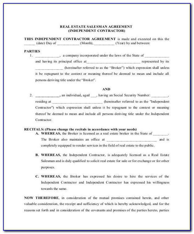 Sample Real Estate Independent Contractor Agreement California