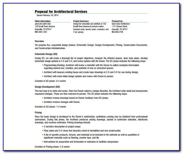 Sample Rfp For Architectural Services
