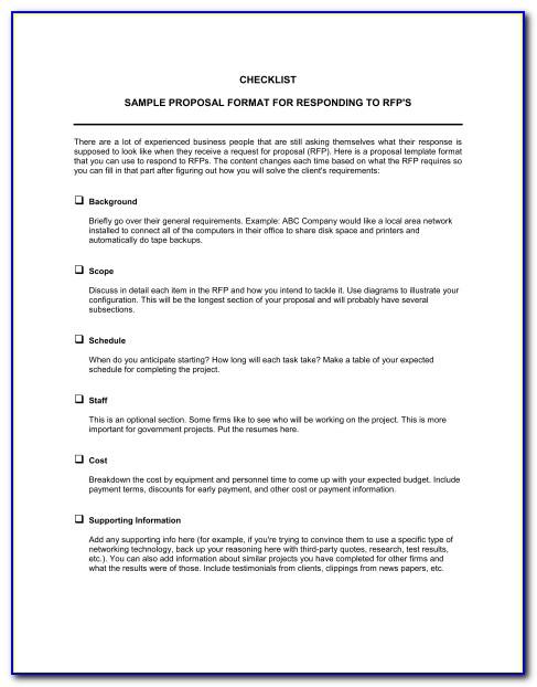 Sample Rfp Response Document Template