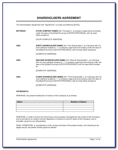 Sample Shareholder Agreement Template