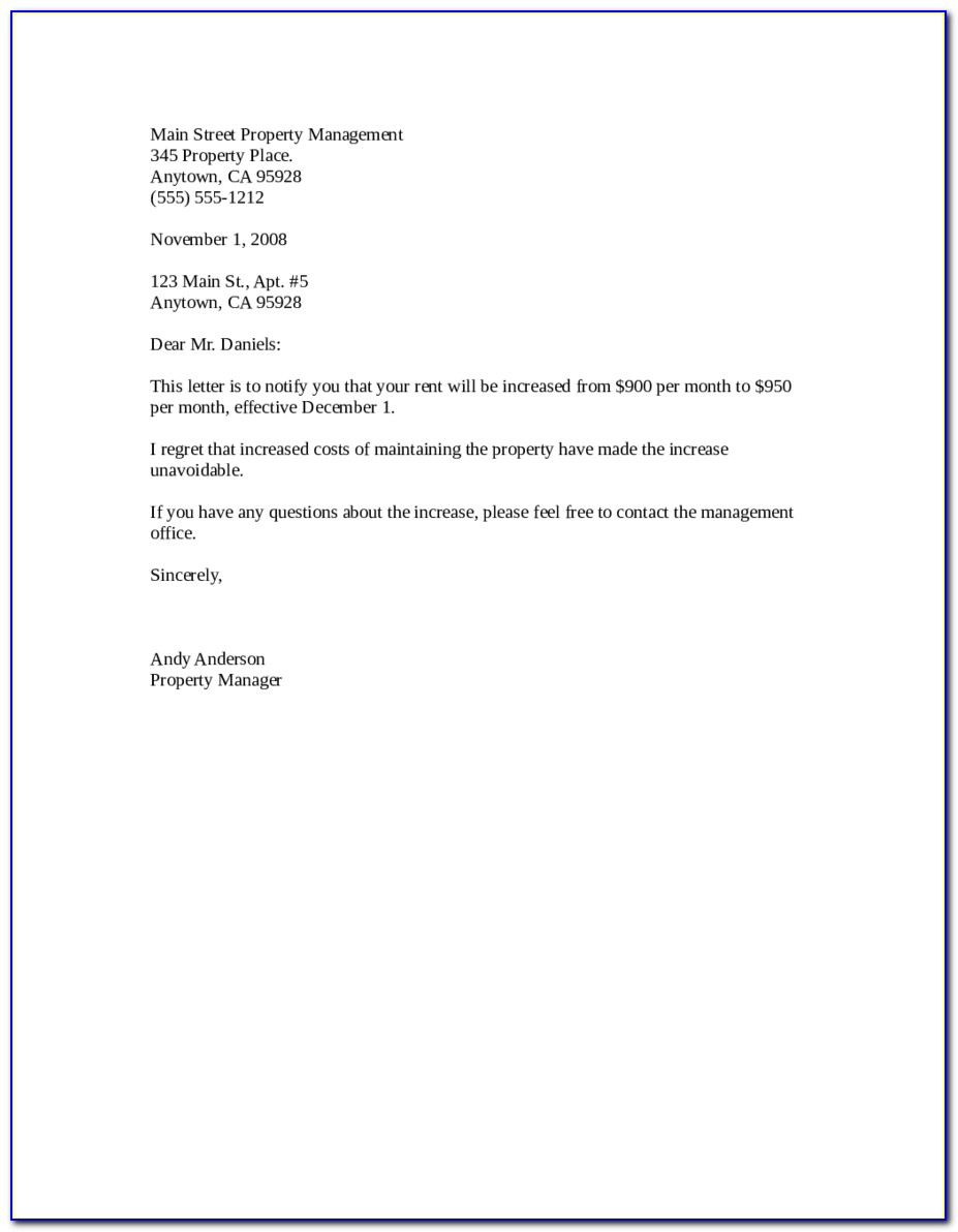 Samples Of Rent Increase Letter