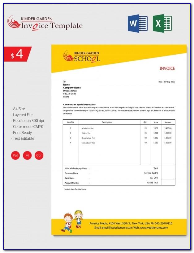 School Invoice Format