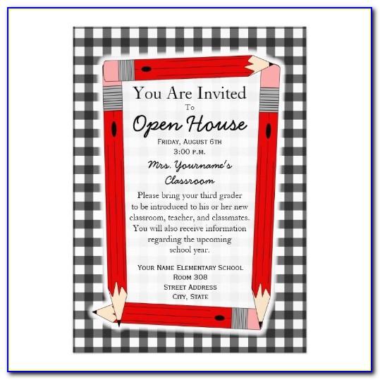 School Open House Announcement Wording