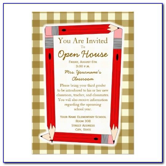 School Open House Invitation Letter Sample