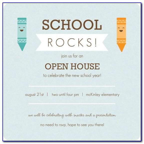 School Open House Invitation Template